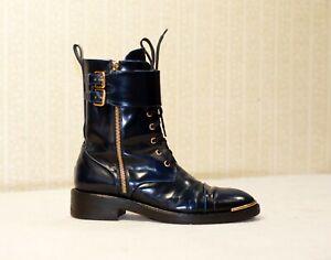 1800$ LOUIS VUITTON LV navy leather laceup flap zip combat boots 37.5-38 us7-7.5