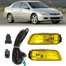Pair Yellow Fog Lights Lamp+Wiring Switch for 03-08 Honda Accord 04-07 Acura TL