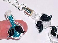 1 Glass Heart w/ Fallen Angel Wings small bottle Pendant rice charm Vial Black *