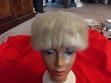 Womens Vintage Genuine Real Fur Hat Blonde Light Brown Mink Fur Very Nice