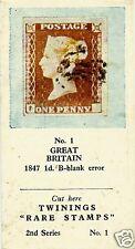 TWININGS TEA CARD, SERIES: RARE STAMPS, GREAT BRITAIN, 1847, 1d., B-BLANK ERROR