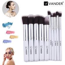 10pcs Vander Eyebrow Shadow Soft Beauty Makeup Brushes Set Kit Silver