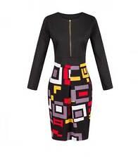 Fashion Long Sleeve Kitenge Knee Dress Geometric Design Lady Business 8-18 14 16