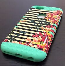 For iPhone 6 / 6S - HARD & SOFT RUBBER HYBRID ARMOR IMPACT CASE FLOWER STRIPES