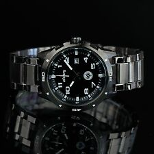 INFANTRY Mens Quartz Wrist Watch Date Black Stainless Steel Fashion Sport Army