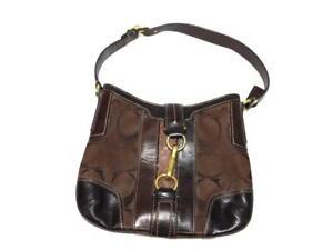 Coach Dark Brown Hampton Canvas Leather Logo Purse Shoulder Bag D0766 Gold Clasp