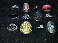 12 Costume Rings * Vintage Jewelry Lot * Cocktail Rhinestone AVON