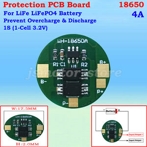 PCB PCM Protection Circuit Board 1S 3.2V 4A LiFePo4 LiFe 18650 Battery Cell BMS