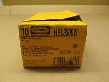 10 NIB HUBBELL HBL8300W 8300W RECEPTACLE 2 POLE 3 WIRE 20A 125V NEMA 5-20R WHITE
