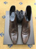 New Gucci Mens Shoes Brown Leather Snakeskin Chelsea Dealer Boots UK 6 US 7 40