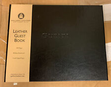 Gallery Leather Bound Guest Book Black 190 Ruled Gold Edged Pages Bookmark New
