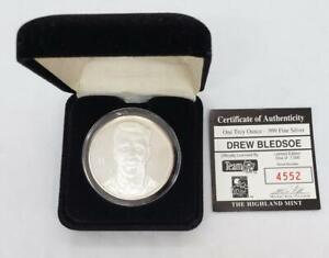 Drew Bledsoe 1 ozt .999 Fine Silver New England Patriots Comm Medallion COA Box