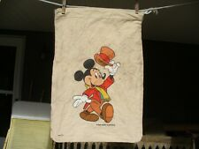 Vintage Mickey Mouse Walt Disney Productions Drawstring Tote Bag Sack Usa