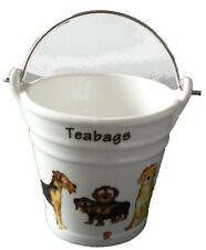 Dogs bucket shaped Teabag tidy & tongs in gift tray shrink wrapped