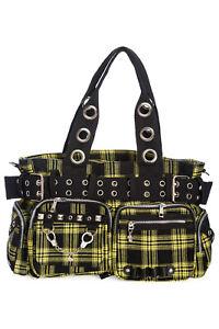 Yellow Tartan Check Gothic Rockabilly Emo Punk Handcuff Camdyn Bag BANNED