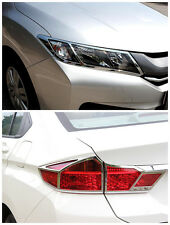 ABS Chrome Front + Rear Light Lamp Cover Trim 6pcs For Honda City 2014 2015 2016