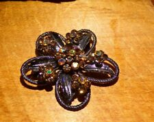 Pretty Amber AB Rhinestone Flower Brooch Pin Pendant With Japanned Setting