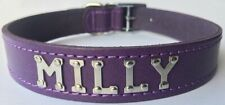 Medium/Large Personalised Purple Leather Designer Dog Collar