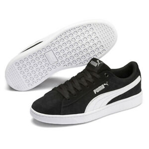 PUMA Vikky V2 SD Jr Suede Black Shoes Girls Classic Black White Trainers