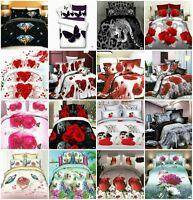 Duvet Cover Bedding Set 3D Effect Quilt Fitted Sheet Pillowcase Animal Floral