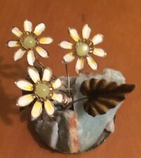 """Frank Mosse Hand Crafted Enameled Flowers In Natural Aggregate Rock 2 1/4"""""""