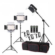3x LED308C II 3300-5600K Remote Control LED Video Light Kit + 2m Stand+ Boom Arm