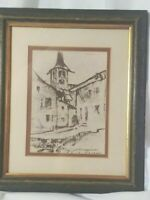 ANTIQUE ART DRAWING CHARCOAL SIGNED MATTED CHURCH TOWER ROSCHENZ, SWITERLAND