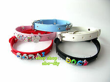 Personalized PU Leather Dog Pet Collar Customized Crystal Name Free Shipping