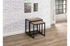 Rustic Industrial Chic Nest Of Tables With / Metal Frame And Wood Finish