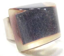 SoHo® Ring Praline Schunkelring dunkelblau Hologramm Kunstharz retro resin
