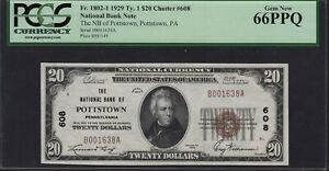 1929 Type 1 The National Bank of Pottstown $20 Note PCGS Gem New 66 PPQ