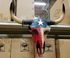 "Western resin cow skull with lonestar Texas Flag design  20"" × 12"" home decor"