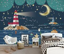 3D Moon Lighthouse Zhua8068 Wallpaper Wall Murals Removable Self-adhesive Amy