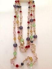 Collana lunga dorata con swaroski blu viola rosso verde più' strass Idea regalo