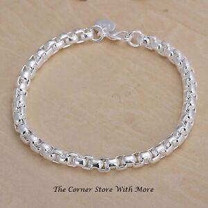 3 x 925 Silver Chain Bracelet Round Links Fashion Jewellery Bridal Party Friends