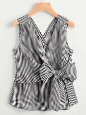 Summer Red Black and White V-Neckline Bow Tie Detail Gingham Top Casual Blouse