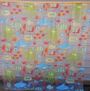 Target Shower Curtain Octopus Shark Whale Seahorse Kids Child Includes 12 Rings