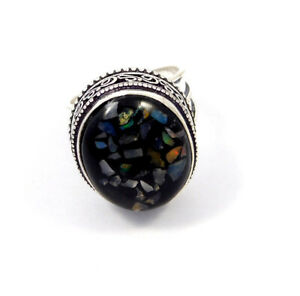 Black Ethopian Opal Silver Plated Hand Carving Size 7.75 Ring Jewelry JC8749