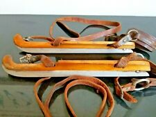 "Vintage Dutch Wooden Ice Skates with leather straps, ""Juweeltje"" by Nooitgedagt"