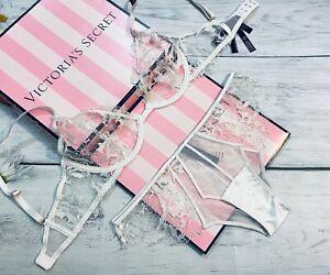 Victoria's Secret Luxe Lingerie Unlined Demi Balconette Bra Cheeky Set White