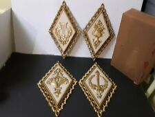 1971 Homco Wall Plaques Set of 4 Home Interior Gold Diamond Shaped Harp Flowers