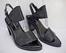 ANN DEMEULEMEESTER black leather slant heel sandals size 37.5