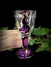 HAND Decorated STREGHE CALICE in vetro con MOON concentrarono Lepre wicca pagano Altare