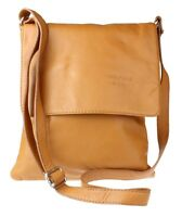 New Genuine Soft Leather Italian Messenger Cross Body Shoulder Bag Flap Zipped