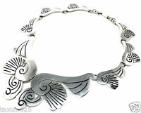 VINTAGE DESIGN TAXCO MEXICAN STERLING SILVER FLORAL FLOWER NECKLACE MEXICO