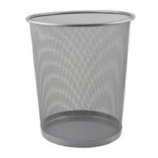 Mesh Waste Paper Bin Rubbish Metal Wire Basket for Office Bedroom - Silver 10L