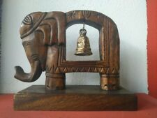 Wooden Bell Holder Elephant Shaped Brass Home Decor Gift Vintage Style