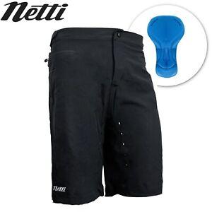 Netti Shy Mens Bike Shorts with Padded Liner - Black