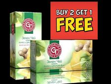 BUY 2 GET 1 FREE by GT 100% Natural Tea Green Tea-Lemon,Ginkgo&Ginger 20 sachets