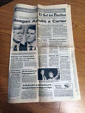 "Ronald Reagan ""El Sol del Pacifico"" Newspaper November 5th 1980 Election/Carter"